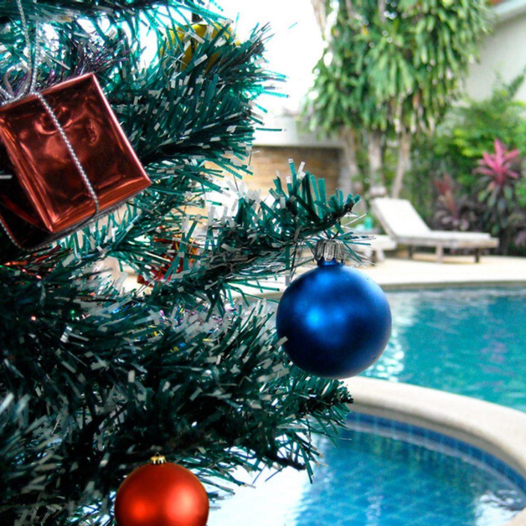 Árbol de Navidad en la piscina